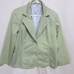 CHICO'S SZ 2 PALE SEA GREEN LINED JACKET